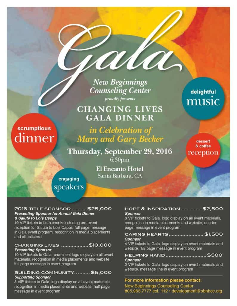 New Beginnings Gala 2016 Sponsors