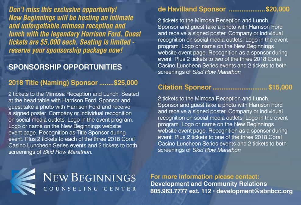 Sponsor New Beginnings 50 Years - Fundraising Event with Harrison Ford