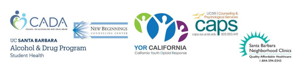 Logos of New Beginnings Counseling Center,UCSB Alcohol and Drug Program, Santa Barbara Neighborhood Clinics, the Council on Alcoholism and Drug Abuse, UCSB Counseling and Psychological Services, and Youth Opioid Response Grant (YOR CALIFORNIA).