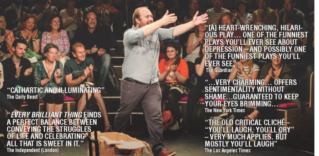 Picture of Jonny Donahoe Performing with Quotes from Publications Regarding the Performance
