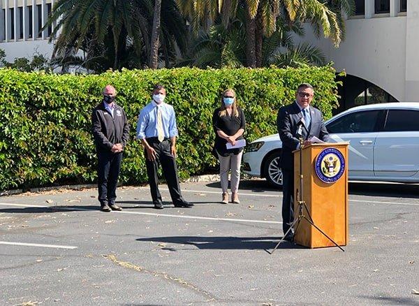 Congressman Carbajal speaking with speakers Kristine Schwarz, Das Williams, and Gregg Hart