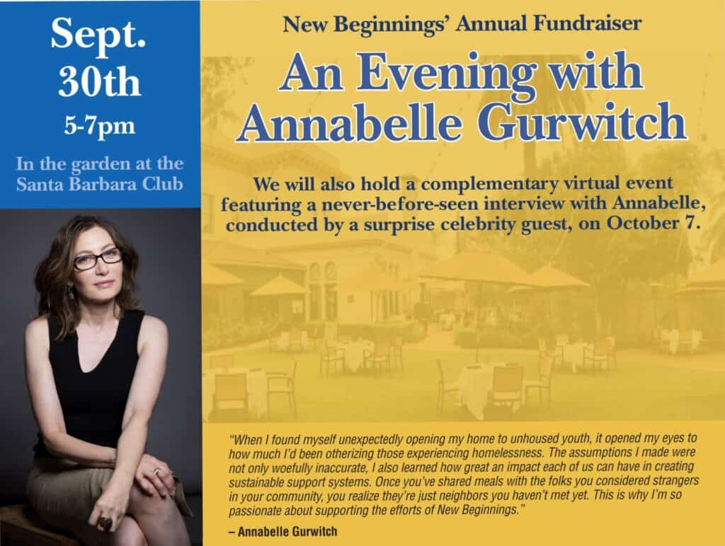 New Beginnings Annual Fundraiser. An Evening with Annabelle Gurwitch. September 30
